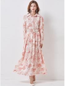 Europe Stylish Belt Waist Shirt Collar Flowers Long Dress