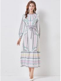 Retro Wholesale Round Neck Tie Waist A-line Long Dress