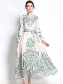 Charming Grace High Waist Flowers Long Sleeve Maxi Dress