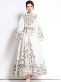 Europe Autumn 2 Colors Flare Sleeve Belt Waist Flowers Maxi Dress