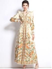 Autumn New 2 Colors V-neck High Waist Flowers Long Dress