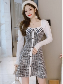 Autumn Square Collar Single-breasted Long Sleeve Tweed Dress