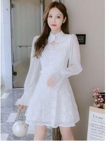 Pretty Korea Flouncing Waist Flowers Long Sleeve A-line Dress