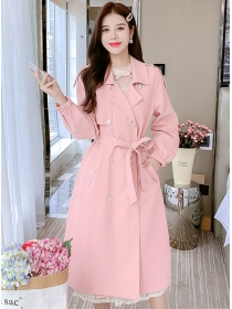 Vogue Lady Double-breasted Tailored Collar Long Coat