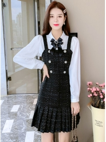 Pretty OL Bowknot Blouse with Pleated Straps Tweed Dress