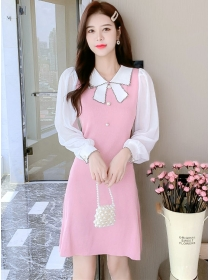 Wholesale 2 Colors Bowknot Doll Collar Knitting A-line Dress