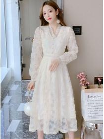 Korea Fashion V-neck Lace Flowers Long Sleeve Dress
