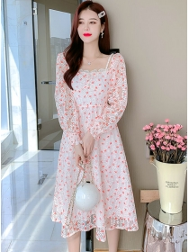 Charming Lady Boat Neck Lace Flowers A-line Dress