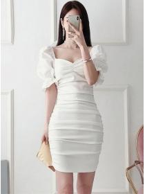 Korea Fashion Square Collar Pleated Puff Sleeve Slim Dress