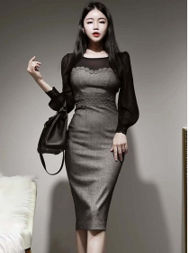 Retro Wholesale Lace Fitted Waist Puff Sleeve Skinny Dress