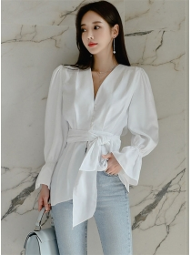 Hot Selling Tie Waist V-neck Puff Sleeve Blouse