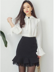 Fashion OL Bowknot Puff Sleeve Blouse with Lace Fishtail Skirt