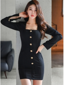 Autumn New Square Collar Single-breasted Skinny Dress