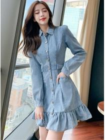 Autumn Fashion Single-breasted Fishtail Denim Shirt Dress
