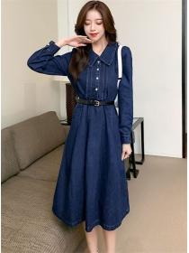 Korea Wholesale Doll Collar Belt Waist Denim Long Dress