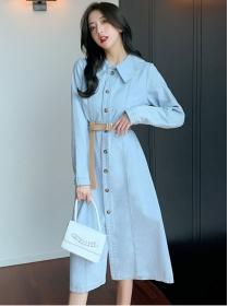 Wholesale Korea Single-breasted Doll Collar Denim Dress