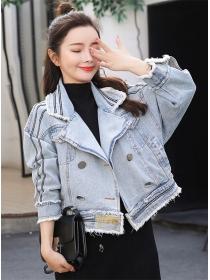 Vogue Lady Tailored Collar Loosen Short Denim Jacket