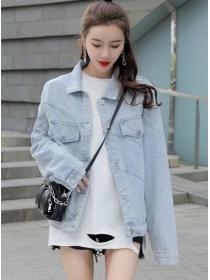 Wholesale Simple Fashion Buttons Open Long Sleeve Denim Jacket