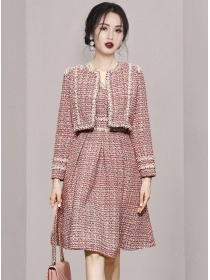 Boutique Fashion Tweed Jacket with High Waist A-line Dress