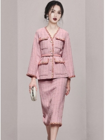 Modern Lady Twisted V-neck Tweed Thick Two Pieces Dress Set