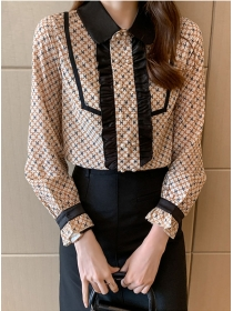 Retro Fashion Doll Collar Double-breasted Long Sleeve Blouse