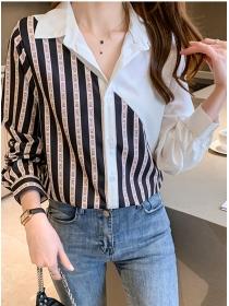 Korea Wholesale Letters Stripes Shirt Collar Chiffon Blouse