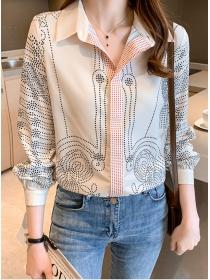 Casual Fashion Shirt Collar Dots Long Sleeve Loosen Blouse