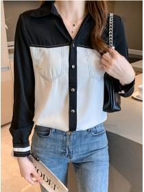 Modern Lady Color Block Turn-down Collar Chiffon Blouse