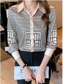 Wholesale Korea Shirt Collar Plaids Long Sleeve Blouse