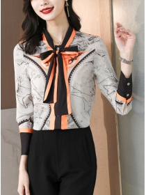 Retro Wholesale Color Block Tie Collar Long Sleeve Blouse
