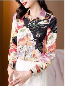 Charming Women Shirt Collar Printings Long Sleeve Blouse