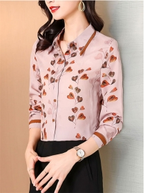 Fashion Women Hearts Flowers Shirt Collar Long Sleeve Blouse