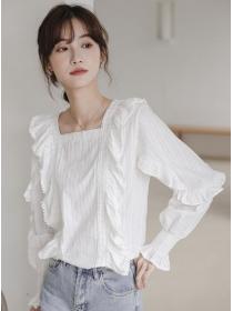 Preppy Fashion Square Collar Flouncing Lace Blouse