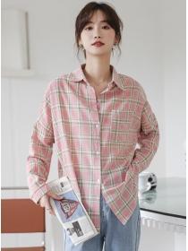 Wholesale Shirt Collar Plaids Loosen Long Sleeve Blouse