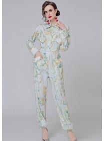Brand Fashion 2 Colors High Waist Shirt Collar Flowers Jumpsuit