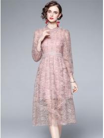 Chic Fashion Gauze Flowers Embroidery Flouncing A-line Dress