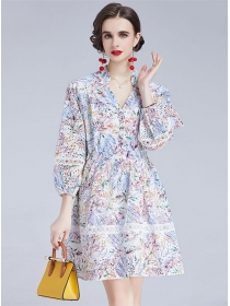 Modern Lady V-neck Hollow Out Flowers Embroidery Fluffy Dress