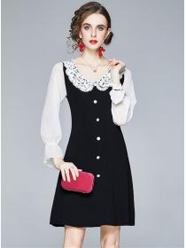 Preppy Fashion Lace Doll Collar Puff Sleeve Knitting Dress