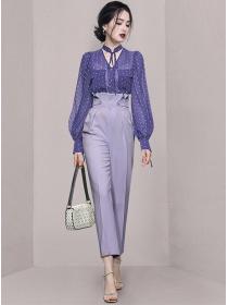 Pretty 2 Colors Dots Chiffon Blouse with High Waist Long Pants
