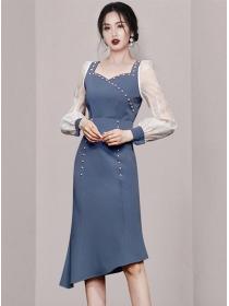 Autumn New 2 Colors Beads Square Collar Fishtail Dress Set