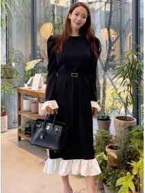 Fashion Korea 2 Colors Belt Waist Fishtail Casual Long Dress