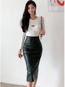 Fashion OL Knitting T-shirt with Skinny Leather Skirt