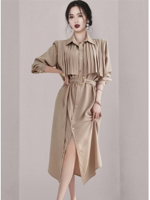 Modern Autumn 2 Colors Pleated Shirt Collar A-line Long Dress