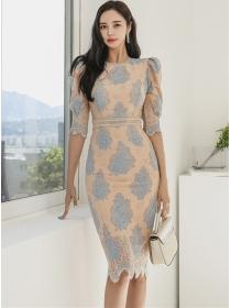 Retro Korea High Waist Flowers Lace Puff Sleeve Slim Dress