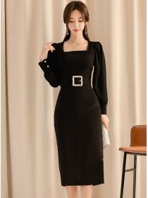 Fashion Women Square Collar Belt Waist Puff Sleeve Dress