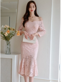 Charming Sexy Boat Neck Fishtail Lace Bodycon Dress
