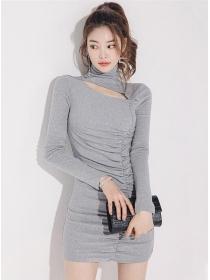 Autumn Fashion Stand Collar Pleated Skinny Cotton Dress