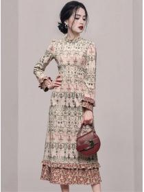 Retro Korea Fashion Flowers Long Sleeve A-line Dress