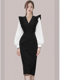 Vogue Lady V-neck Fitted Waist Puff Sleeve Bodycon Dress