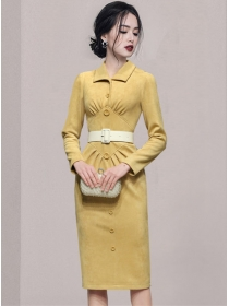 Elegant Fashion Single-breasted Belt Waist Slim Dress